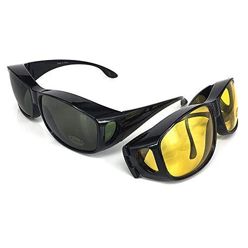 VOUNOT 2 Gafas de Sol Superpuestas, UV400 Gafas de Sol Polarizadas Hombre y Mujer, Gafas de Noches para Conducir, Negro y Amarillo
