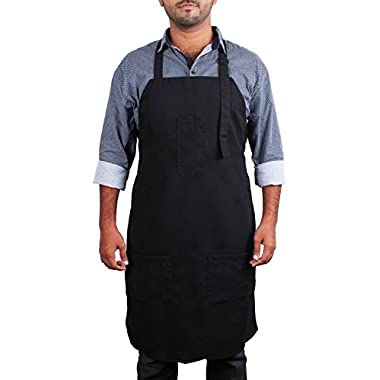 Adjustable Bib Apron with 3 Pockets - Commercial Restaurant and Home Kitchen Apron - Adjustable Neck Strap - Extra Long Ties - Strong Black - by Utopia Kitchen