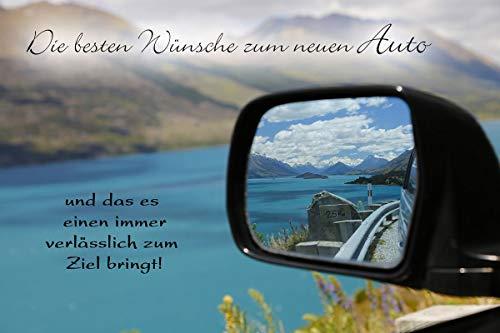 Yabue Neues Auto Foto-Karte Grußkarte Glückwunsch Seitenspiegel 16x11cm