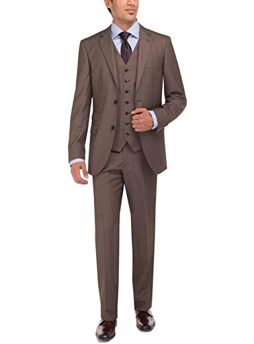 Luciano Natazzi Men's Two Button Vested Three Piece Suit Set Tweed Modern Fit (36 Short US / 46S EU/W 30', Lt. Brown)