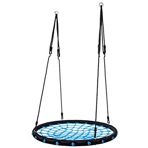 AIBAB Schaukelsitz Für Kinder Spinnennetz-Schaukel Für Kinder Runden Outdoor Garten Spielzeug Zurück Crow Nest Verstellbares Aufhängeseil Blau