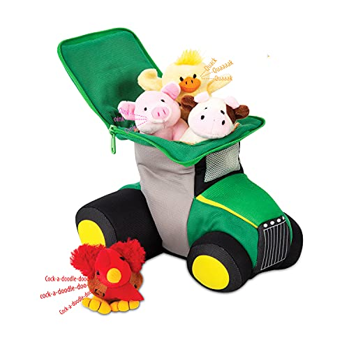 Bundaloo Plush Tractor and Farm Animals with Sounds - Plushie Play Set with Cute Talking Barn Animals in a Large Truck - Soft Stuffed Cow  Rooster  Duck & Pig - Birthday Gifts & Learning Toy for Kids