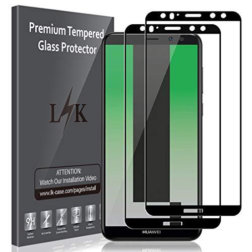 LK Panzerglas Schutzfolie für Huawei Mate 10 Lite, 2 Stück, 9H Festigkeit Panzerglasfolie, HD Klar Bildschirmschutzfolie, [Anti-Kratzen] [Blasenfrei] [2.5D Rand] [Einfacher Montage]