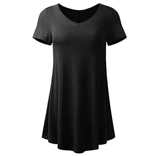 T-Shirt Damen,Mode Einfarbig Kurzarm Pullover T-Shirt V-Ausschnitt Tunika Bluse Tops Lässige Lose Kurze Ärmel Tops Bluse Tee Kurzärmlige Sweatshirt T-Shirt Resplend