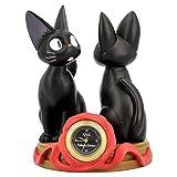 Benelic [Jiji and Stuffed Plush Jiji] Statue Desk Clock - Kiki's Delivery Service - Official Studio Ghibli Merchandise