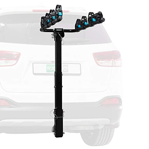 """RaxGo Hitch Mounted 4 - Bike Rack Carrier, Sturdy Bicycle Swing Rack w/Tension Bar Included – Fits 2"""" Receiver – Foldable Design for Extra Convenience – Durable Powder-Coated Steel – Easy Assembly"""