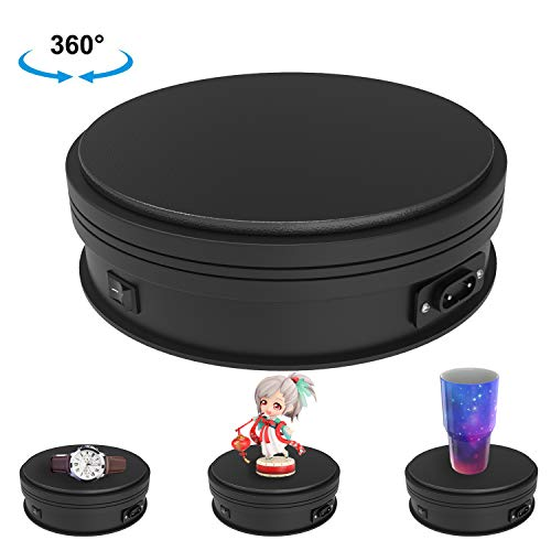 Motorized Photography Display, Newerpoint 360 Degree Electric Rotating Turntable, Automatic Revolving Platform perfect for 360 Degree Images, Product Display or Cake Display,45lb Load Dia 6inch- Black