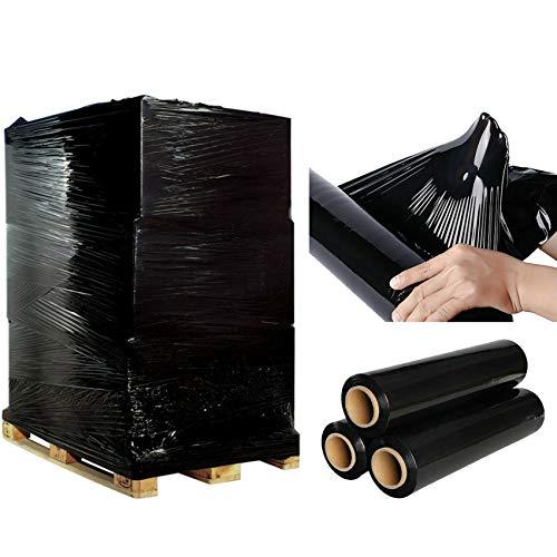 Rollo de plástico para envíos de paquetes de plástico de alta resistencia para palet, color negro, de 400 mm x 200 m, de 1 a 40 rollos, de plástico resistente de alta calidad (10 rollos (2000 metros))
