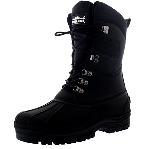 POLAR Mens Snow Hiking Mucker Duck Grafters Waterproof Saftey Thermal Boots - Black - US10/EU43 - YC0445