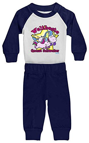 Hariz - Pijama de bebé con diseño de unicornio azul Blanco/azul marino....