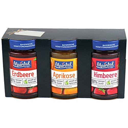 "Maintal Weihnachts Geschenkset ""Weniger Zucker"" ( Aprikose, Erdbeer, Himbeer) 3 x 200 g"
