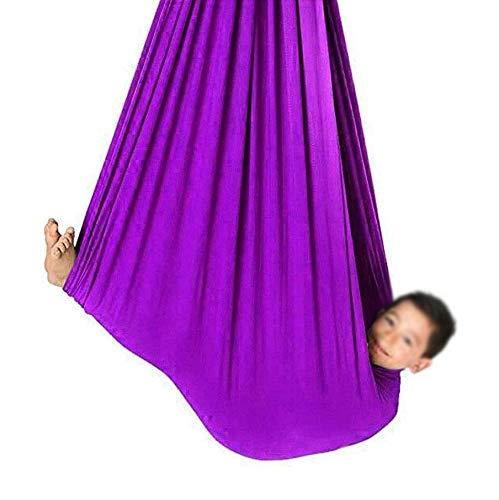 LICHUXIN Silla De Columpio Ajustable Columpios Infantiles Hamaca para Exteriores para Niños y Adolescentes Hamaca Suave con Necesidades Especiales (Color : Purple, Size : 150x280cm/59x110in)