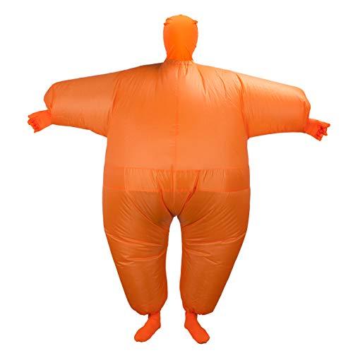 THEE Aufblasbares Kostüm Japan Sumo für Halloween Karneval Fastnacht Fasching Erwachsene Fett Anzug,Orange