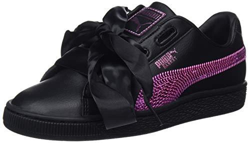 Puma Basket Heart Bling Jr, Zapatillas para Niñas, Negro Black-Orchid 01, 36 EU