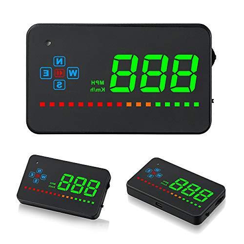 iKiKin GPS HUD ヘッドアップディスプレイ 車載スピードメーター 過速度警告搭載 LEDディスプレー 反射フィルムつき A2 (黒/ブラック)