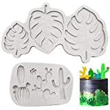 Tropical Leaf and Cactus Fondant Mold, Making for Cake Decorating Chocolate Gum Paste , 2PCS Grey