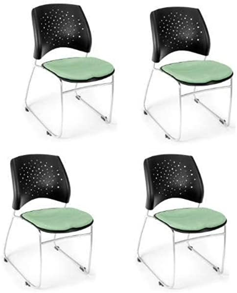 OFM 325 4PK 2207 Stars Series Armless Fabric Stacking Chair Sage Green Pack Of 4