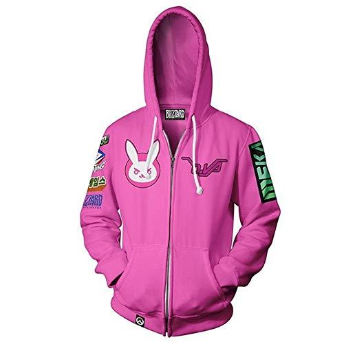 IDEALcos D.Va Kostüm Kapuzenpulli Hoodie Zipper Jacket (M, Rosa)