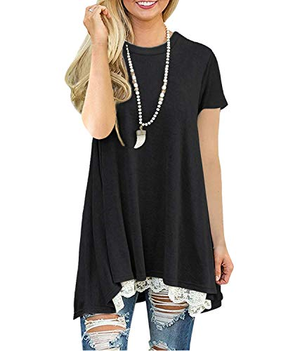 Longshirt Damen Kurzarm Große Größen Oberteil Einfarbig Tunika Bluse (Schwarz XXL)