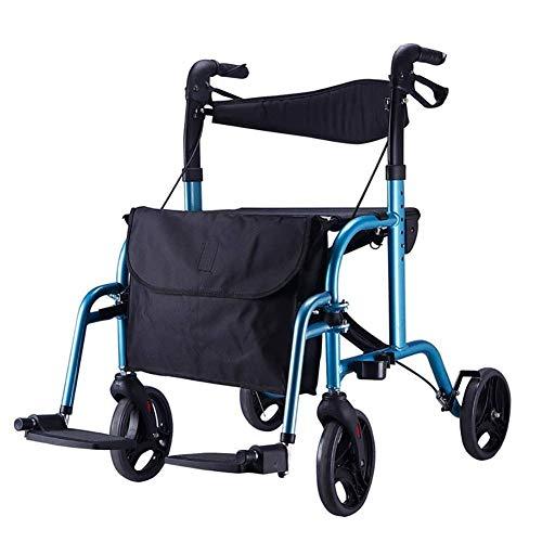 ZAIHW 2 in 1 Rollator-Transportstuhl w/Paded Seatrest, Reversible Rückenlehne und Abnehmbarer Fußstützen Transport Walker Chair umklappbaren Sitz Mobility Aid