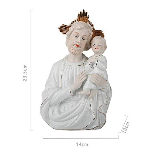 Luxdeoo Escultura Figuritas Decorativas Estatuas Cristiano Católico Icono Reliquias Virgen Familia Estatua C