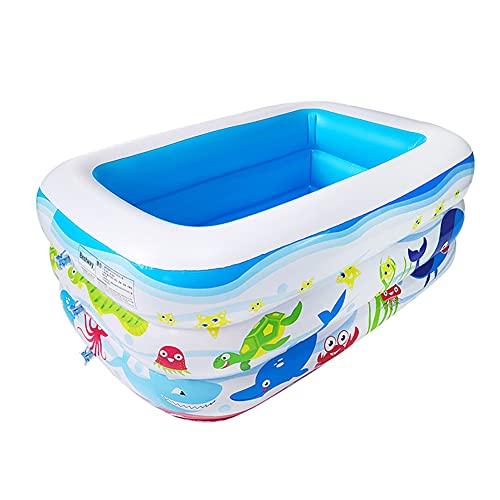 YANXS Piscina Hinchable para Niños Portátil Piscina Infantil Rectangular Piscina para Bebés Inflable Gruesa y Duradera para Actividades Familiares Aire Libre Fiesta Playa Jardín,130×92×52cm