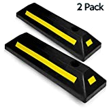 Zone Tech Heavy Duty Rubber Parking Guide - 2 Pcs Premium Quality Durable Car Garage Wheel Stopper Professional Grade Parking with Reflective Yellow Tape Curb