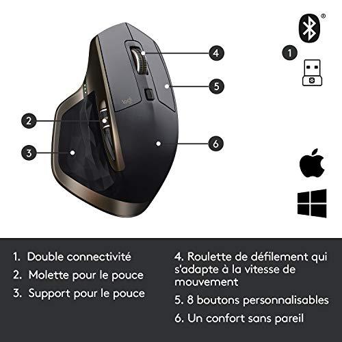 Logitech MX Master, Souris sans Fil, Bluetooth ou 2,4 GHz avec Nano-Récepteur USB Unifying, Suivi sur Toute Surface 1000 PPP, 5 Boutons, Version Amazon, Compatible avec PC/Mac/Portable - Noir