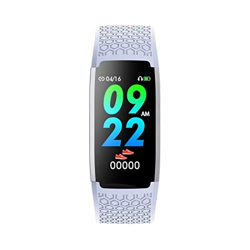 Reloj inteligente Superfit para hombre y mujer, resistente al agua (IP67), reloj deportivo (gris claro) con funciones de tiempo y deporte como rastreador de fitness y podómetro