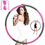 Hoola Hoops for Adults Weight Loss - Weighted Hoola Hoop,Jump Rope Weighted Exercise Hoola Hoops for Kids,Hoola Hoops Bulk,Professional Soft Fitness Hoola Hoops Skipping Rope - Detachable Design(Pink)