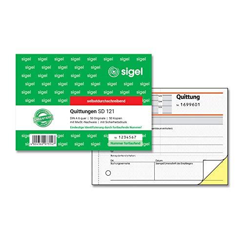 Idena 314260 - Quittungsblock DIN A6, 2 x 40 Blatt, selbstdurchschreibend, holzfreies Papier