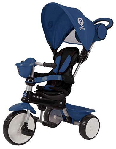 QPlay Kinder Dreirad Comfort 4in1 Blau UV-Dach, Freilauf, Lenkstange, klappbar