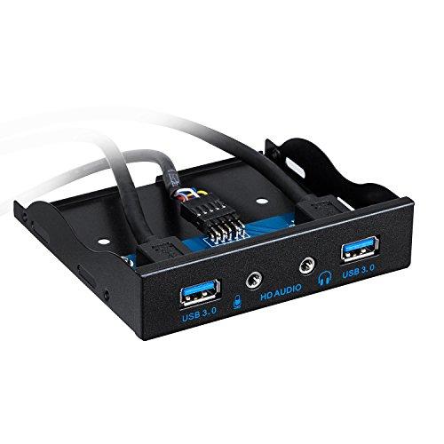 Kriogor USB 3,0 2 Porte 3,5 Pollici, Pannello Frontale in Metallo USB Hub con 1 Porta di Uscita HD Audio/1 Microfono Porta di Ingresso per Il Desktop