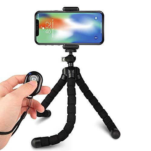 Octopus Style - Soporte para trípode con Control Remoto Bluetooth para cámara, Cualquier Smartphone con Clip