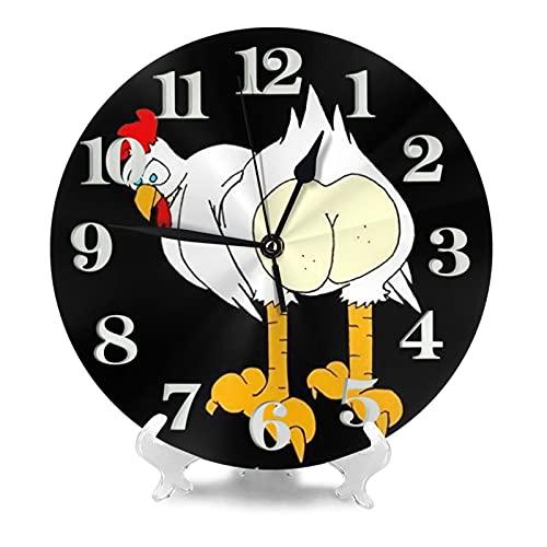 Guess What Chicken Butt Reloj de pared de 9.8 pulgadas silencioso redondo reloj de pared funciona con pilas, no hace tictacs creativo decorativo reloj f