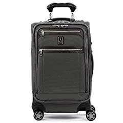 Expandable carry on spinner suitcase with external USB port and dedicated powerbank pocket meets FAA regulations for carry on and checked baggage; Powerbank not included Precision glide system includes contour grip, 4 stop adjustable powerScope handl...