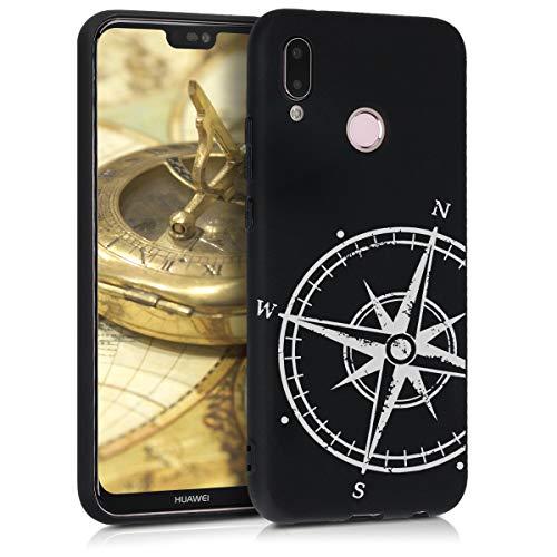 kwmobile Cover Compatibile con Huawei P20 Lite - Custodia in Silicone TPU - Back Case Protezione Posteriore Cellulare - Bussola Legno Bianco/Nero