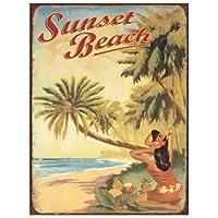 簡素な雑貨屋 Sunset Beach ブリキ看板 壁飾り レトロなデザインボード ポストカード サインプレート 【20×30cm】