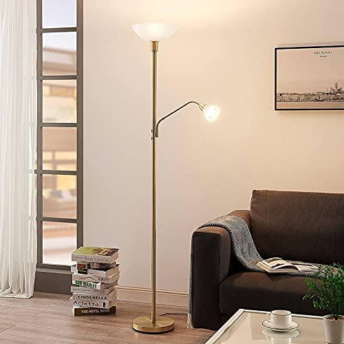 Lampenwelt LED Stehlampe   Deckenfluter inkl. dimmbarer LED Leuchtmittel   Standleuchte Messing matt/Gold   Stehleuchte Wohnzimmer   warmweiß (3.000K)   Leselampe