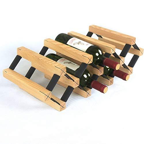 TUYIROE Bambus Weinregal, Tabletop Weinregal, Countertop Display Weinregal, Home Kitchen Bar, natürliche solide Bambus Weinflasche Aufbewahrungsbox (Color : B)