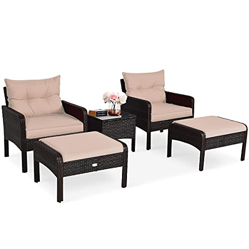 COSTWAY 5PCS Rattan Garden Furniture Set, 4-Seater Cushioned Sofa Chair with Glass Top Coffee Table and Footstool, Outdoor Patio Porch Balcony Wicker Table Chairs Set (Brown+Tan)