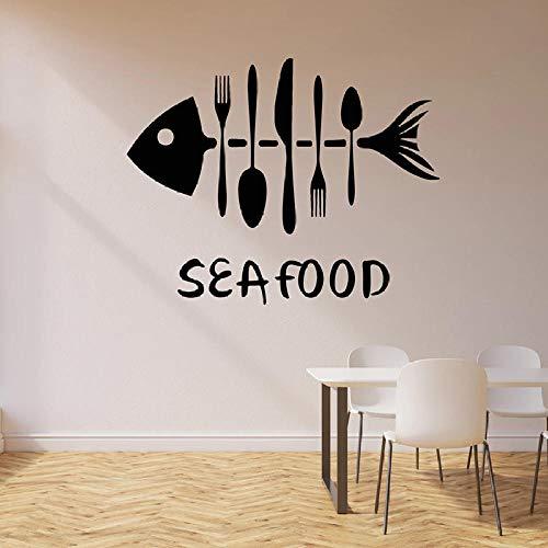 Mrlwy Calcomanía de pared de mariscos, huesos de pescado, tenedores, cuchillos, vajilla, vinilo, pegatina para ventana, cafetería, restaurante, decoración Interior, Mural artístico, 42x52cm