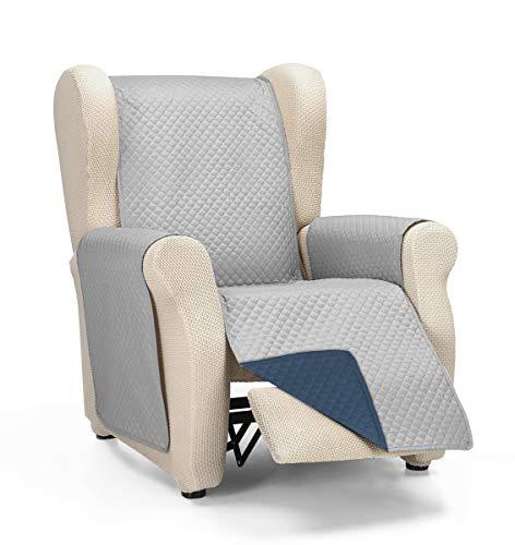 Martina Home Diamond Cubre Sofa Acolchado Reversible, Gris/Azul, 1 Plaza/Relax