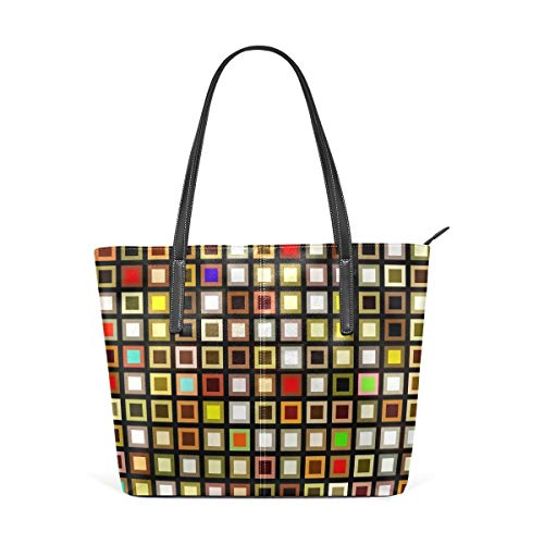 XGBags Custom Borsa a tracolla in pelle PU da donna Colorful Squares Texture Purse PU Leather Shoulder Tote Bag Purse for Womens Girls Ladies