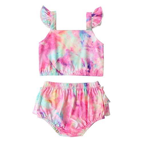 Longfei Baby Mädchen Batik-Kleidung Anzug fliegende Ärmel offener Rücken + elastische Taille Dreieckshorts Gr. 92, Zufällige Farbauswahl.