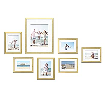 Mimosa Moments Gallery Wall Frame Set with mat for one 8x10 two 5x7 and four 4x6 pictures  Gold 7 pcs set
