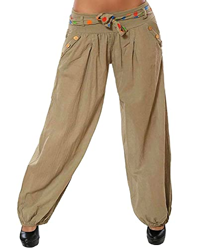Mujer Pantalones Harén Cintura Elástico Pantalón Moda Casual Color Sólido Pantalones para Deportes Yoga Pilates Caqui XX-Large