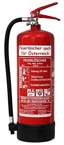 NEU 6 kg ABC Pulver Feuerlöscher auch für Österreich DIN EN 3 GS + Standfuß + Wandhalter + Manometer 55 A, 233 B, C = 15 LE