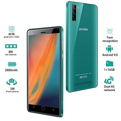 Moviles Libres 4G, 16GB ROM Android 9.0 5MP+8MP, 5.0 Pulgadas Smartphone Libre Dual SIM, 3400mAh Quad Core Face ID Moviles Buenos (2 x Micro SIM +1 MicroSD- Verde