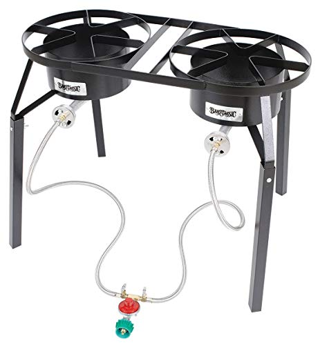 Bayou Classic DB250 Double Burner High-Pressure Cooker with Extension Legs